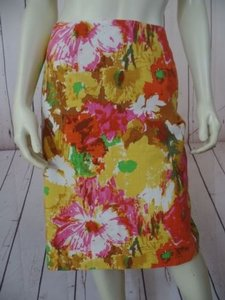 Talbots Cotton Floral Skirt Orange Yellow Green Pink White