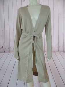 Other Karen Kane Instyle Duster Long Gold Shimmer Thin Knit Belted Festive Sweater