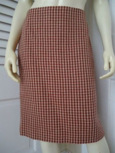 Item - Ann Taylor Loft Skirt Virgin Wool Houndstooth Straight Lined Red Brown Chic