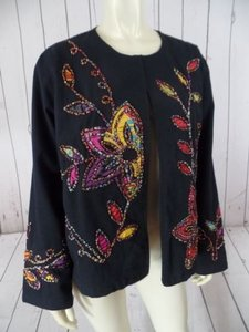 Choices Choices Blazer Coat Black Cotton Hook Eye Embroidery Floral Applique Boxyboho