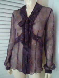 Adrienne Vittadini Sheer Silk Seamed Ruffle Design Buttons Chic Top Multi-Color