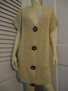 525 America Heavy Knit Cotton Blend Long Multi Knit Snap Front Buttons Sweater