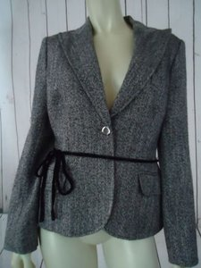 Anne Klein Anne Klein Blazer Coat Black White Metallic Sparkle Acrylic Wool Blend Chic