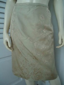 Talbots Petites Silk Straight Floral Embossed Lined Skirt Light Green