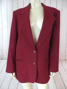 L.L.Bean Ll Bean Blazer Wine Red Wool Cashmere Blend Button Front Lined Pockets Classy