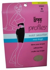 L'eggs 4 pairs of L`eggs profiles waist smoother mid-thigh #93444 M NUDE