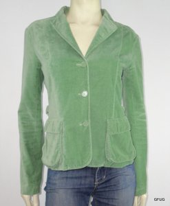 Odille Odille Green Velveteen Button-up Blazer Jacket Long Sleeve Side Belt Cinch