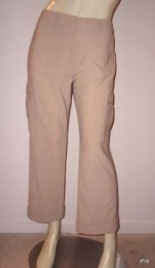Tahari For Bloomingdales Tan Wool Blend Cargo Capri/Cropped Pants Beiges