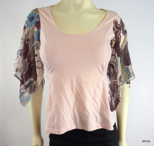 Odille Floral Print Belted Silk Chiffon Kimono Sleeves Top Pink