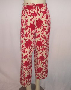 Talbots Red Floral Capri/Cropped Pants Red, Ivory