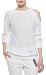 Brunello Cucinelli Sequin Open Shoulder Luxury Sweater