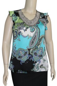 Signature by Larry Levine Top Blue/Black Multi