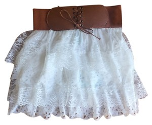 Mint green Mini Skirt White/brown