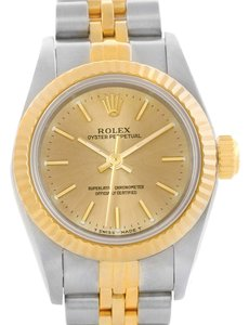 Rolex Rolex NonDate Ladies Steel 18k Yellow Gold Watch 67193