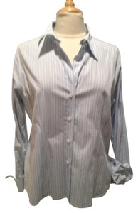 MICHAEL Michael Kors Button Down Shirt Light Blue and White Stripe