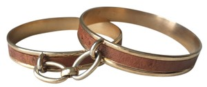 Leather and Chain Linked Brass Bangles Ostrich Embossed Bracelets