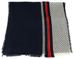 Gucci * 268568 Wool Silk Diamante and Web Detail Stole Scarf, Blue Red