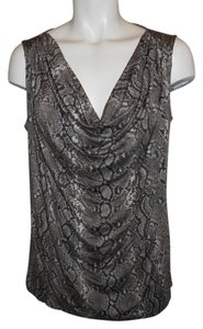 Michael Kors Tank Knit Cowl Snakeskin Top brown & grey python print