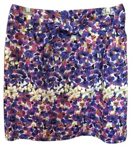 Adrienne Vittadini Size Skirt Floral, Purple, Pink, Green, White, Black