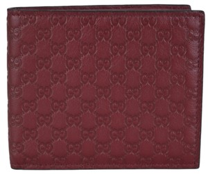 Gucci New Gucci Men's 365466 Burgundy Red Leather Micro GG Guccissima Bifold Wallet