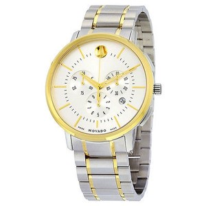 Movado Movado Thin Classic Chronograph Silver Soleil Dial Two-tone Stainless Steel Men