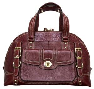 Coach Pebbled Leather Hampton's L0793-11085 Burgundy Large Satchel in Red