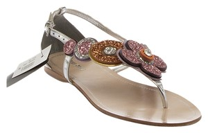 Miu Miu New Thong Embellished Pink, Silver, Multi-Color Sandals