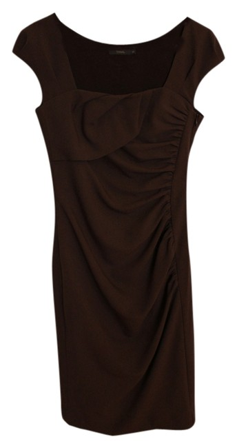Other Ruched Cap Sleeves Square Neckline Knee Length Formal Cocktail Fall Winter Holiday Chocolate Brown Thml Dress