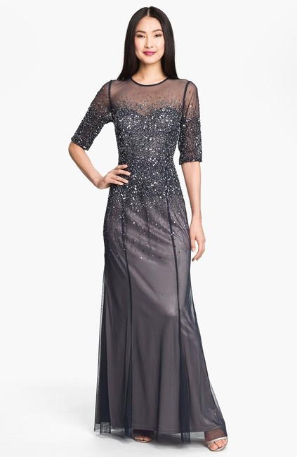 Item - Dark Grey/Navy Polyester Formal Bridesmaid/Mob Dress Size 6 (S)