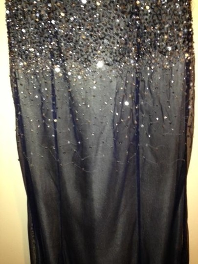 Adrianna Papell Dark Grey/Navy Polyester Formal Bridesmaid/Mob Dress Size 6 (S)
