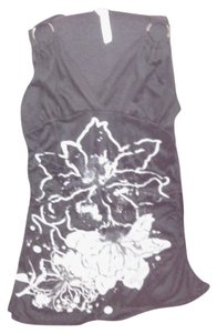 people passion Stretchy Floral Top black with silver and gray metallic designs