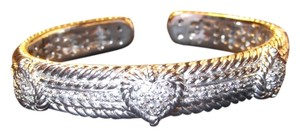 Judith Ripka Judith Ripka .925 Sterling Silver Diamonique Hinged Cuff Bangle Bracelet with Pave Hearts on Front. Will Fit 7 1/2 to 8 Inch Wrist