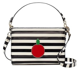Kate Spade Luxury Exclusive Patent Leather Striped New York Cross Body Bag