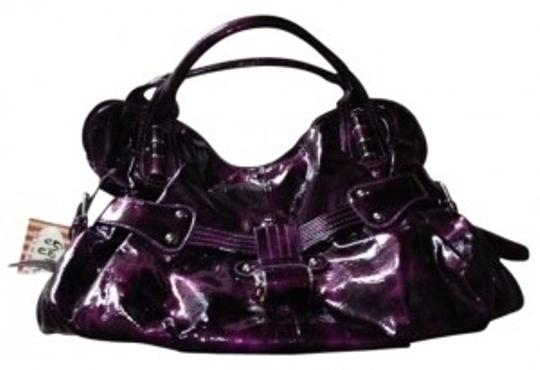 Preload https://item4.tradesy.com/images/purple-purse-shiny-silver-accents-pleather-satchel-143873-0-0.jpg?width=440&height=440