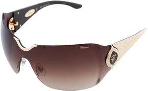 Chopard NEW Chopard 883 Women Wrap-Around Shield 23KT GP Brown Sunglasses Italy