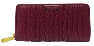 Coach F51236 GATHERED LEATHER ACCORDION ZIP WALLET Brass/Berry