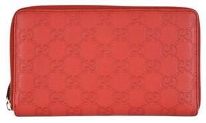 Gucci New Gucci 321117 XL Red GG Guccissima Leather Zip Around Travel Wallet Clutch