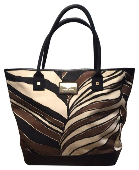 Item - Tan Brown Black Cream Leather and Canvas Tote