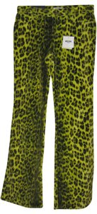 Moschino Jeans Animal Boot Cut Pants Neon and Leopard Print
