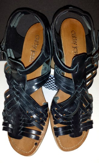 Cathy Jean Leather Gladiator Black Sandals
