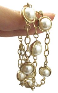 Other 3 String Faux Pearl Chain Bracelet 7.5