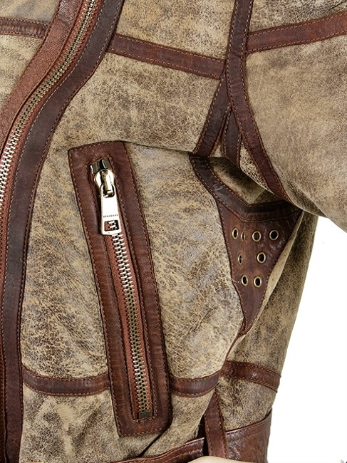 Burberry Brit Shearling Aviator Bomber Zipper Leather Suede Piping Motorcycle Motorcycle Jacket