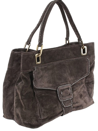 Roger Vivier Suede Belted Shopping Tote in Brown