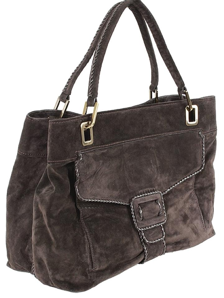 Roger Vivier Suede Belted Ping Tote In Brown