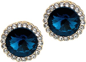 New 14K Gold Crystal Stud Earrings Blue Silver J2367