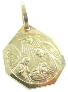 Other 14KT KARAT SOLID YELLOW GOLD PENDANT JESUS MARY RELIGIOUS BIRTH FAITH 2.1 GRAMS