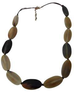 Chico's Chico's Long Chunky Statement Necklace Oval Lucite Discs Leather Cords