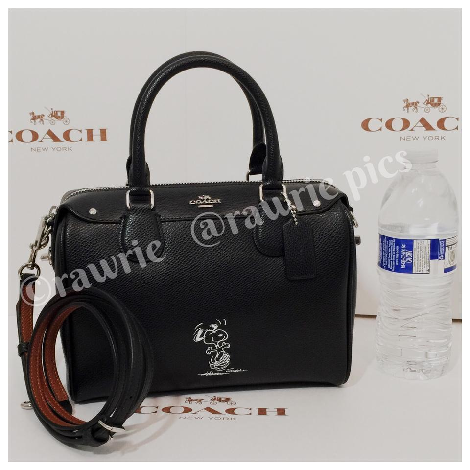 6dd8ceb1b71a Coach Bennett Peanuts Snoopy Limited Edition Crossbody Black Leather Satchel