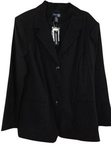 Venezia by Lane Bryant Black Pin Striped Blazer