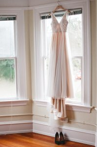 BHLDN Blush Cotton Nylon Tulle; Polyester Silk Lining Tamsin Feminine Wedding Dress Size 0 (XS)